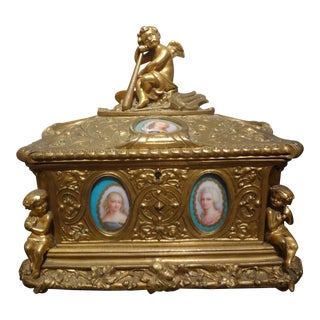 19th Century French Bronze Jewel Casket For Sale