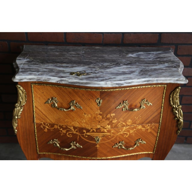 1900s Antique French Rococo Marble Top Nightstands-a Pair For Sale - Image 6 of 12