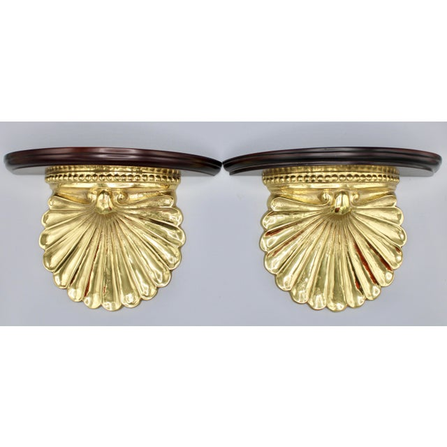 Coastal Wood and Brass Clam Shell Wall Shelves - a Pair For Sale - Image 12 of 13