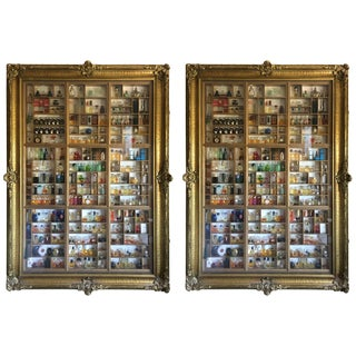 """Pair of Antique """"Frames"""" Display Cabinets and Perfume Bottle Collection For Sale"""