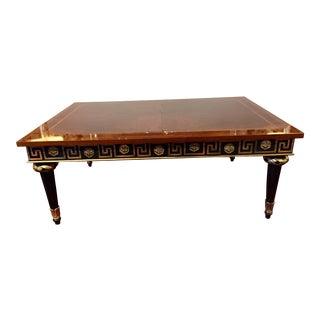 1980s Widdicomb Regency Mahogany Ebonized & Gilded Greek Key Coffee Table For Sale