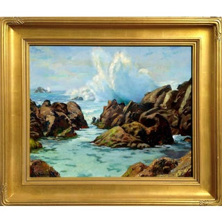 "Abel Warshawsky ""Pebble Beach Surf"" 1920s Painting"