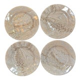 Image of Brown Firenze Marbleized Ceramic Cocktail Plates - Set of 4 For Sale