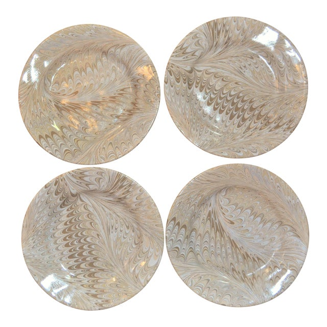 Brown Firenze Marbleized Ceramic Cocktail Plates - Set of 4 For Sale
