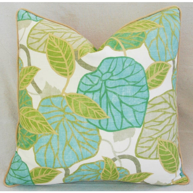 Custom Tailored Atrium Foliage Feather/Down Linen & Velvet Pillows - Pair For Sale In Los Angeles - Image 6 of 11