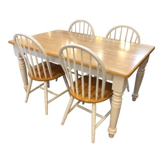 Cottage Style Dining Table & Four Windsor Style Chairs For Sale