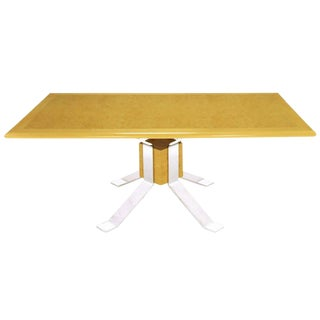 Pace Collection Chrome and Burl Dining Table For Sale