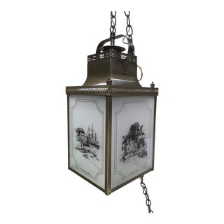 Brass & Glass Nautical Swag/Pendant Light For Sale