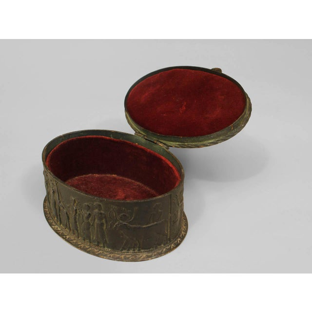 Egyptian Revival Inlaid Bronze Oval Box, Circa Late 19th Century For Sale - Image 4 of 4