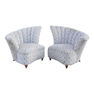 Hollywood Regency Grey Polka Dotted Chairs - a Pair