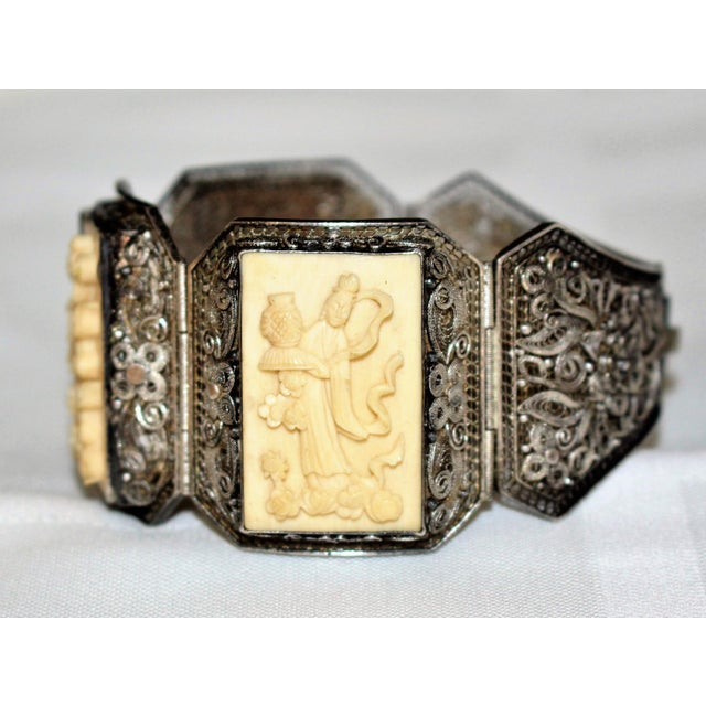 Asian Chinese Sterling and Carved Bone Bracelet For Sale - Image 3 of 6