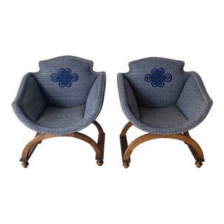 1970s Vintage Newly Upholstered Savorarola Chairs- A Pair For Sale