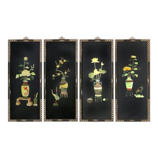 Black Lacquer & Semi-Precious Stone Asian Panels - Set of 4