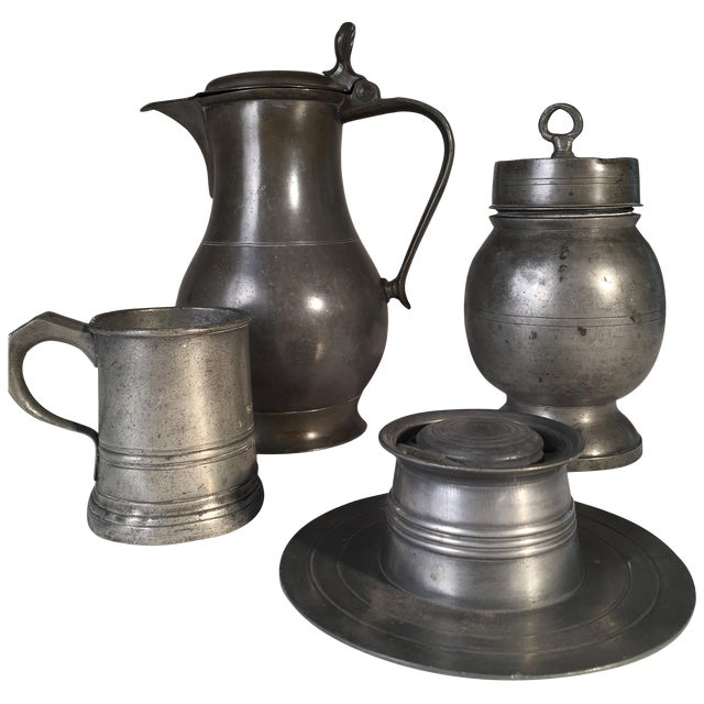 Collection of 4 Antique Pewter Articles For Sale
