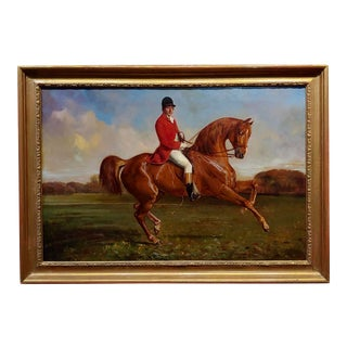 Pierre Franc Lamy 19th Century Portrait of a Horse Rider in Red Coat -Oil Painting For Sale