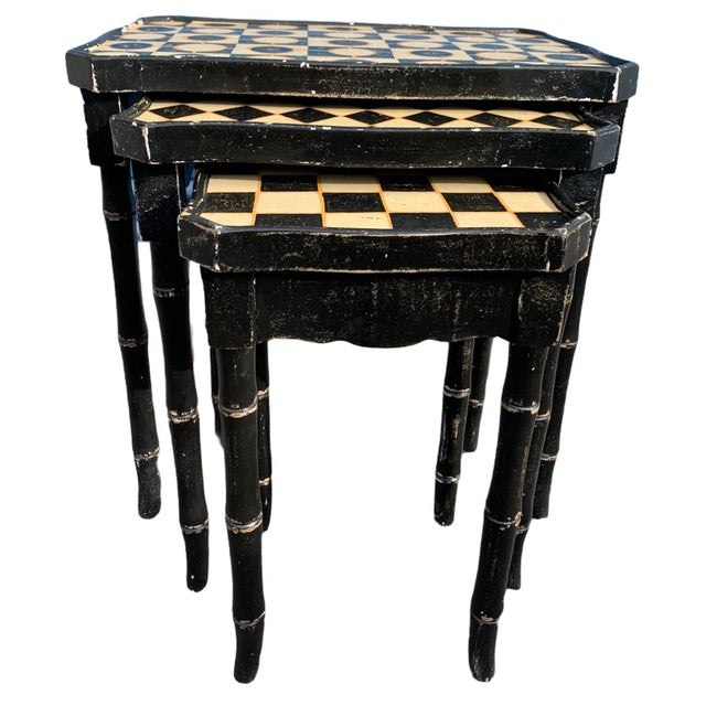 1970s Mackenzie-Childs Style Checkered Original Paint Bamboo Nesting Tables For Sale - Image 5 of 5