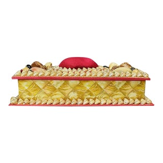 Shell Encrusted Rectangular Keepsake Box With Red Silk Lid For Sale