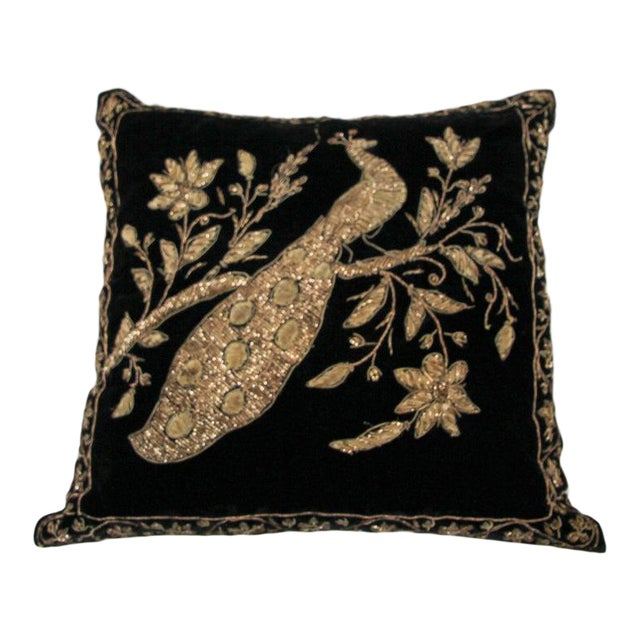 Black Velvet Throw Pillow Embroidered With Metallic Gold Threads For Sale