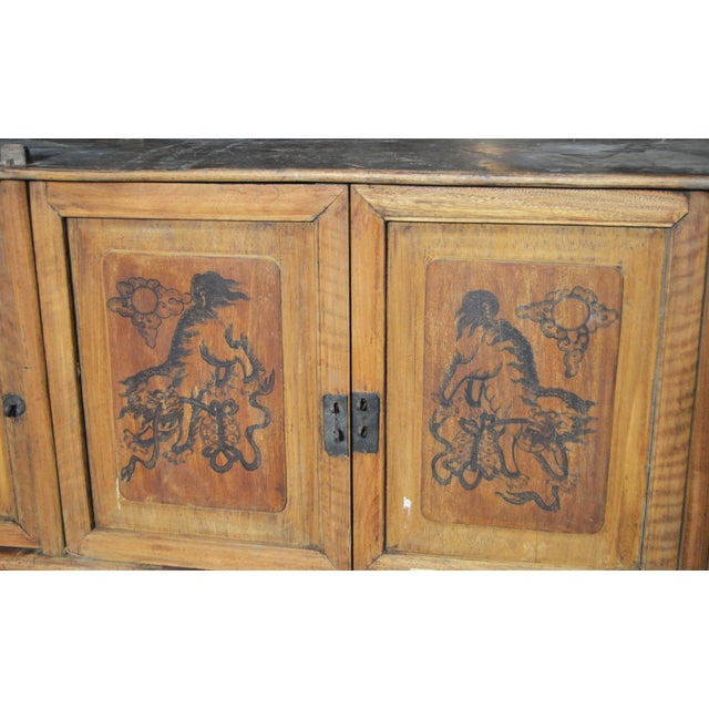 Asian 19th Century Chinese Four-Door Low Wooden Cabinet With Hand-Painted Scenes For Sale - Image 3 of 9