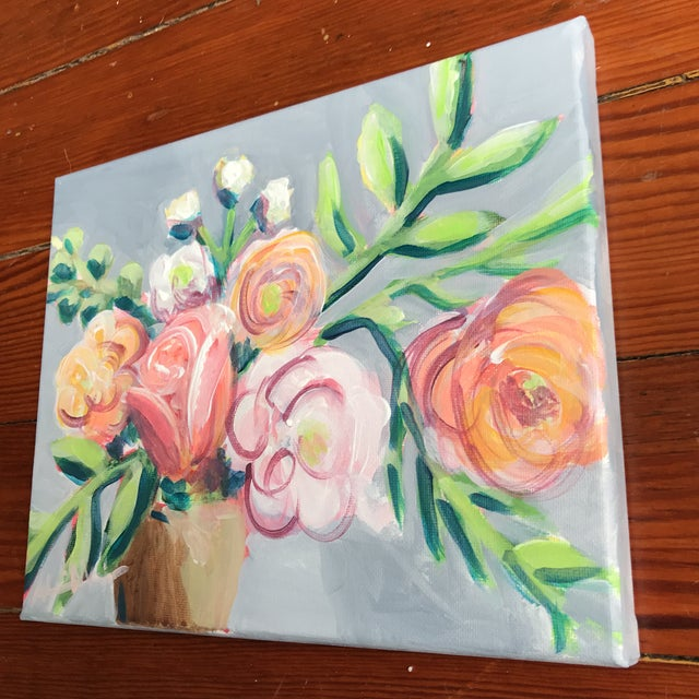 """""""Garden Flowers II"""" by Alice Miles, 2018. Acrylic on canvas. A fun little bouquet that will brighten any room!"""