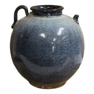 Chinese Blue Dot Glaze Mouth Accent Ceramic Jar For Sale