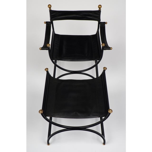 Jacques Adnet Style Armchair with Stool - Image 5 of 11
