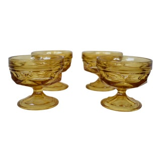 Vintage Amber Sherbet Glasses - Set of 4 For Sale