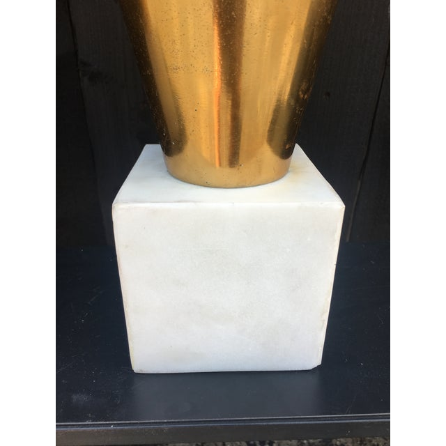 2010s Gold Metal Vases on Marble Bases - a Pair For Sale - Image 5 of 13
