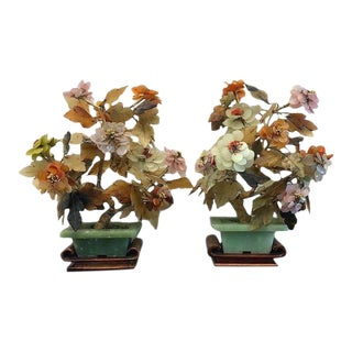 Vintage Chinese Agate Quartz Jade Blossom Trees on Wood Stands - a Pair For Sale