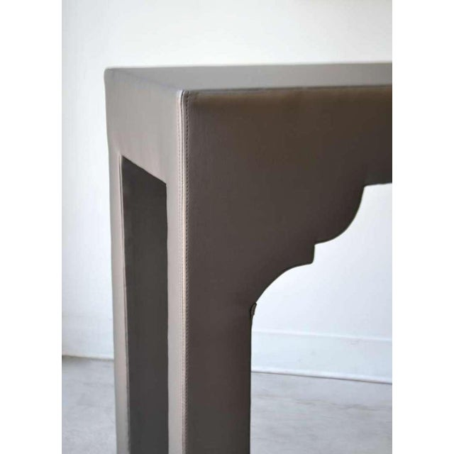 Hollywood Regency Upholstered Console Table For Sale - Image 3 of 7