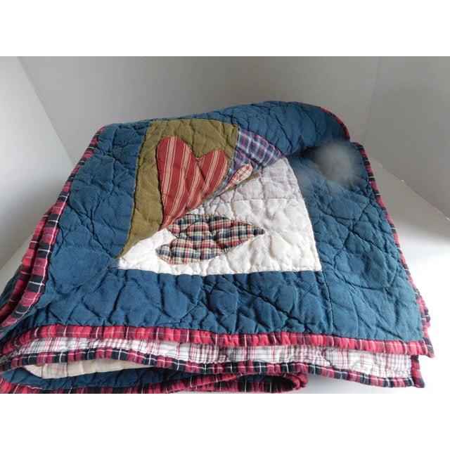 Cotton Child's Vintage Patchwork Heart Quilt For Sale - Image 7 of 13