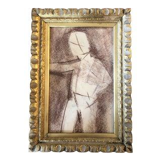 Original Vintage Conte Abstract Drawing Ornate Vintage Frame For Sale