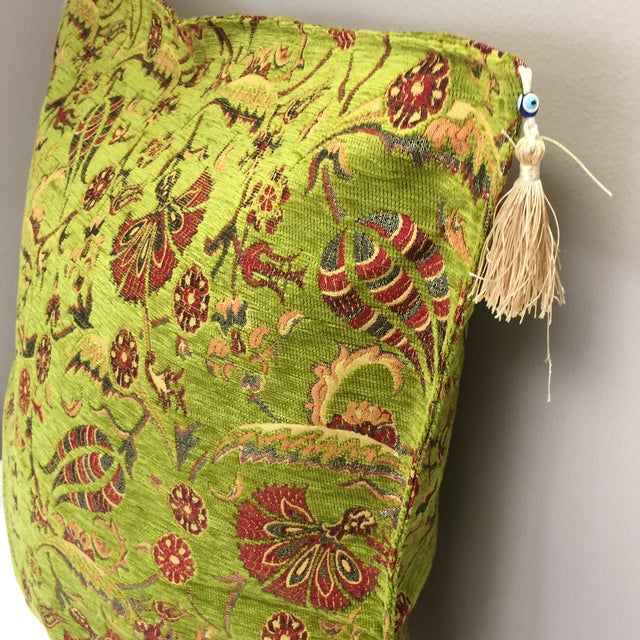 2010s Modern Authentic Kilim Motif Green Pillow Cover For Sale - Image 5 of 7