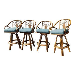 Mid-Century Rattan Bentwood Green Swivel Bar Stools - Set of 4