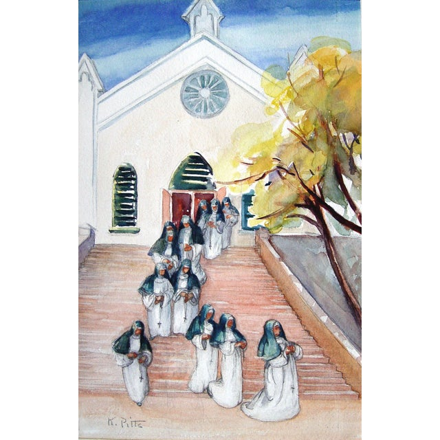 Shabby Chic After Service Watercolor Painting For Sale - Image 3 of 3