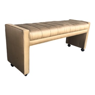 Vintage Channel Tufted Upholstered Bench For Sale