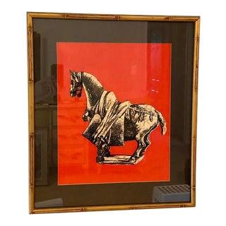 Red & Black Batik Tang Horse Textile in Gold Bamboo Frame For Sale