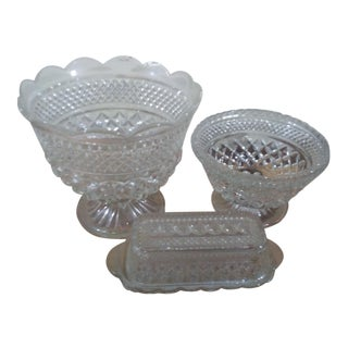1900s Traditional Anchor Hocking Wexford Glass Tableware - 4 Pieces For Sale