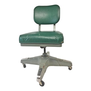 Vintage Industrial Green Swivel Tanker Desk Chair For Sale