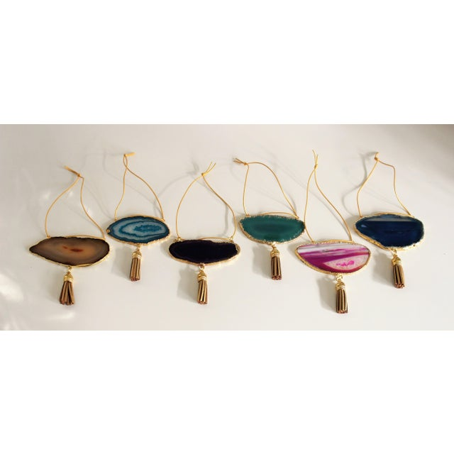Modern Boho Agate Holiday Ornaments - Set of 6 - Image 2 of 10