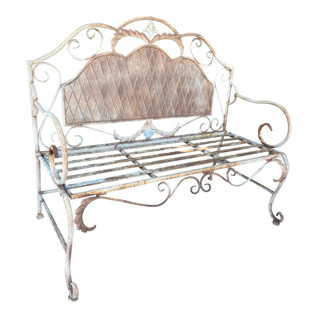 French Antique Wrought Iron Outdoor Folding Bench For Sale