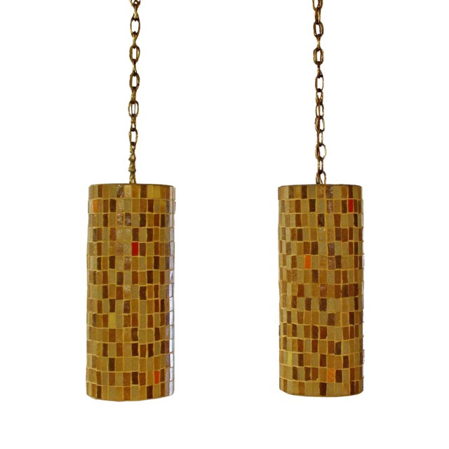 1960s Mid-Century Modern Italian Murano Glass Tile Pendant Light Fixtures - a Pair For Sale