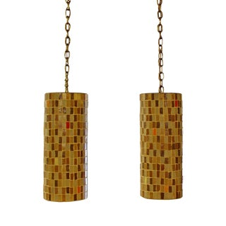 Mid Century Modern Pair of Italian Murano Glass Tile Pendant Light Fixtures 60s For Sale