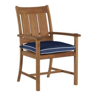 Summer Classics Croquet Teak Arm Chair in Arbor Navy with Linen Snow Welt For Sale