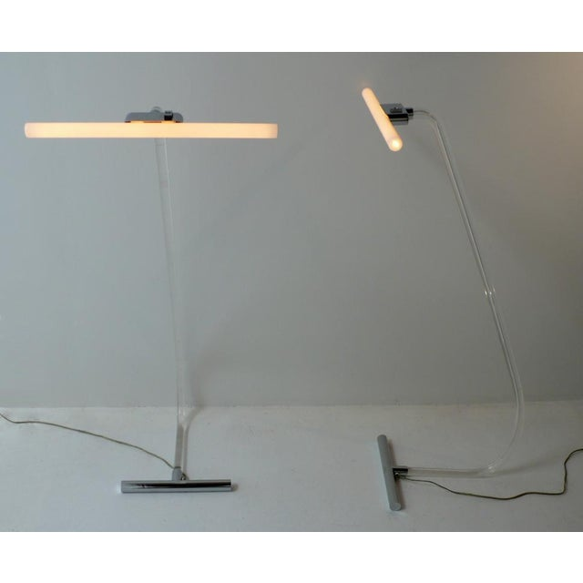 Designed by Peter Hamburger and made in France for Knoll this rare pair of Crylicord floor lamps were acquired directly...