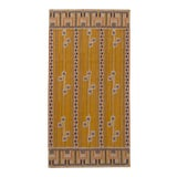 Image of Rug & Kilim's Scandinavian Style Striped Gold and Black Wool Kilim Runner For Sale