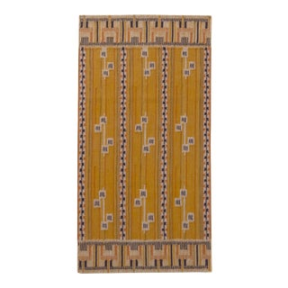 Rug & Kilim's Scandinavian Style Striped Gold and Black Wool Kilim Runner For Sale