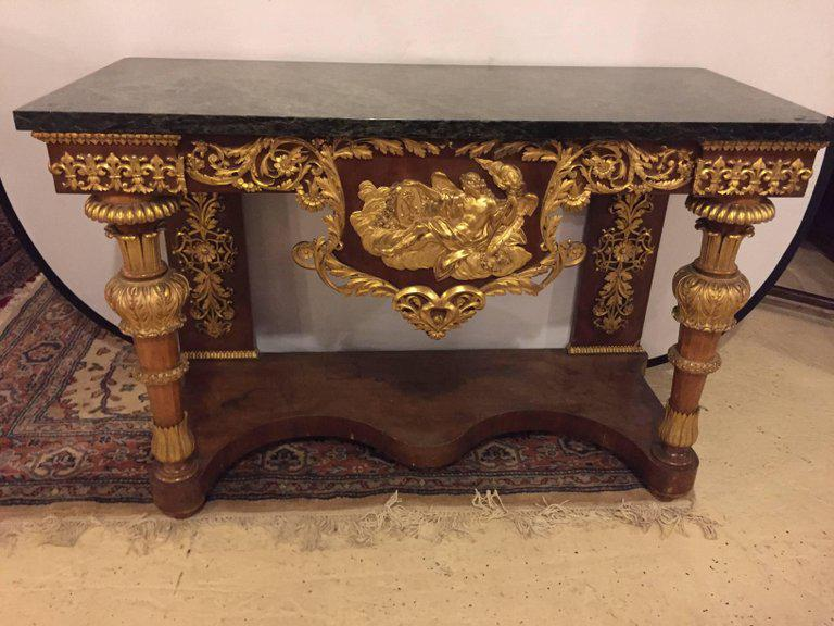 Gold 19th Century Empire Marble Top Console Table With Greek God Design  Front For Sale