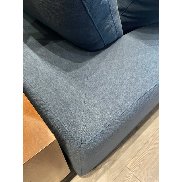 Overstuffed Blue Linen 4 Piece Sectional Sofa For Sale - Image 10 of 13