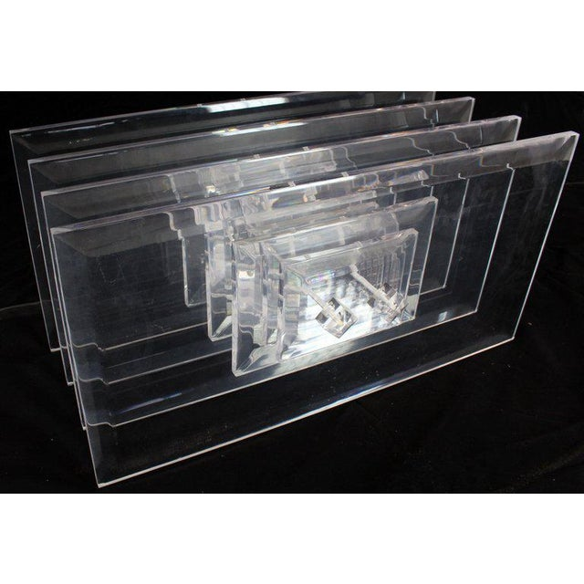 Large Rectangular Glass Top Thick Stack Lucite Blades Base Coffee Table For Sale - Image 9 of 12